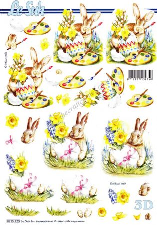 Bunny Rabbit With Decorated Easter Eggs 3d Decoupage Sheet from Le Suh